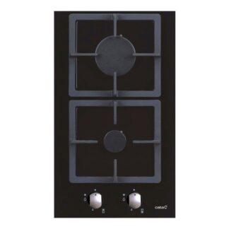 Placa Cristal Gas Negro 2 Fuegos